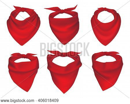 Red Neck Scarves, Bandanas, Neckerchiefs And Handkerchiefs Isolated Vector Set. 3d Realistic Silk Ac