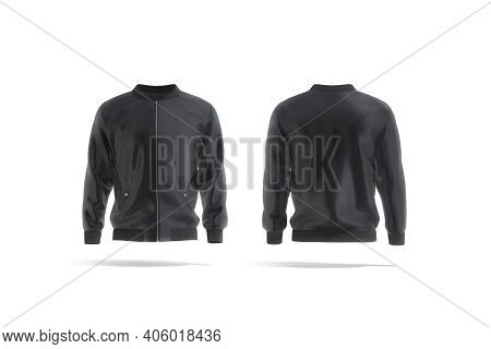 Blank Black Bomber Jacket Mockup, Front And Back View, 3d Rendering. Empty Satin Or Fabric Outwear M