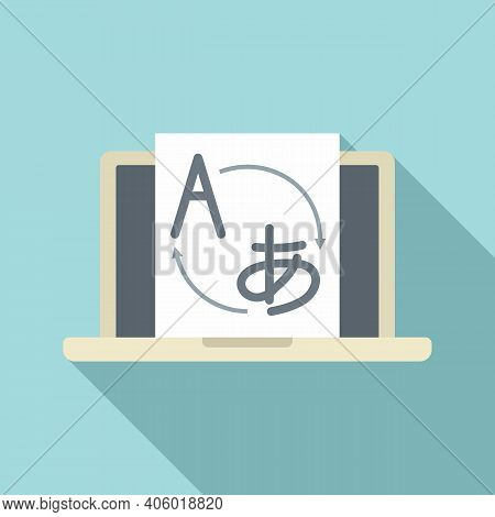 Foreign Language Laptop Study Icon. Flat Illustration Of Foreign Language Laptop Study Vector Icon F