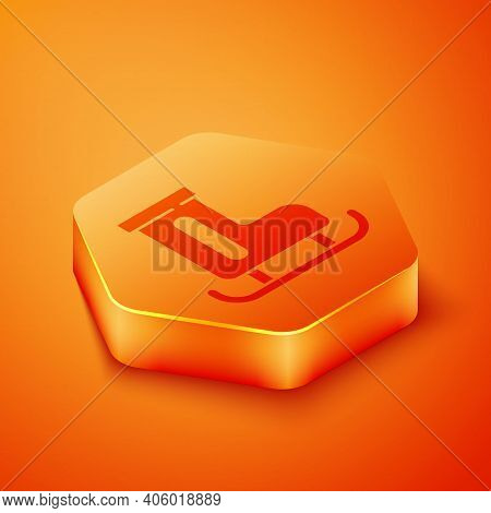 Isometric Figure Skates Icon Isolated On Orange Background. Ice Skate Shoes Icon. Sport Boots With B