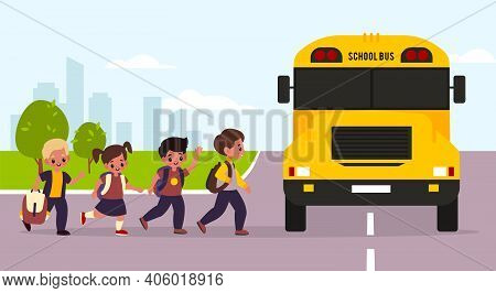 School Bus Kids. Students Enter Yellow Transport, Children Group Goes To Classes, Urban Landscape, G