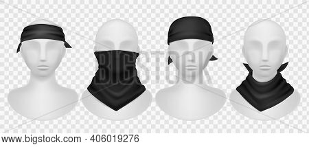 Realistic Black Bandana. Mannequins Mockup With Different Style Dark Kerchief, Wearing Options Buffs