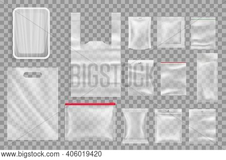 Food Products Plastic Packaging Mockups. Polyethylene Tray With Plastic Wrap, T-shirt Packet With Ha