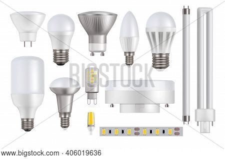 Led Light Bulbs Isolated On White Background Realistic Vector Mockup. Led Lamps, Lightbulbs And Tube