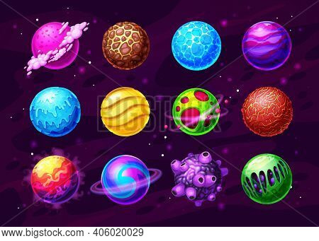 Fantasy Planets, Alien Worlds In Deep Space Cartoon Set. Frozen And Hot, Covered Water, Ice And Lava