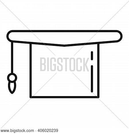Foreign Language Graduation Hat Icon. Outline Foreign Language Graduation Hat Vector Icon For Web De