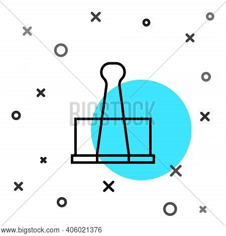 Black Line Binder Clip Icon Isolated On White Background. Paper Clip. Random Dynamic Shapes. Vector