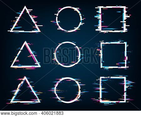 Vector Geometric Shapes Frames With Glitch Effect. Circle, Square, Triangle. Tv False Or Spurious El