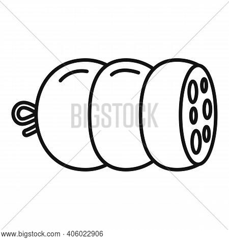 Salami Sausage Icon. Outline Salami Sausage Vector Icon For Web Design Isolated On White Background