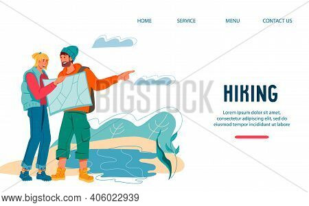 Website Banner For Hiking With Couple Of Tourists Checking The Travel Route On Map, Flat Vector Illu