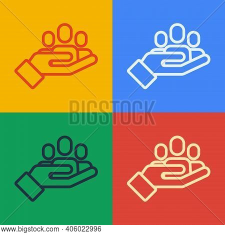 Pop Art Line Hand For Search A People Icon Isolated On Color Background. Recruitment Or Selection Co