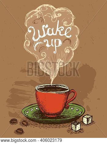 Good Morning, Wake Up Coffee Cup Vector Illustration