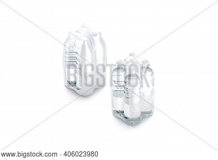 Blank Transparent Plastic Bottle In Pack With Handle Mockup Set, 3d Rendering. Empty Matte And Trans