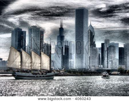 Chicago Sail Boat Negative