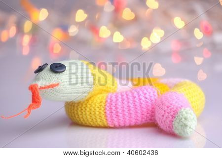 Happy Cute Knitted Snake