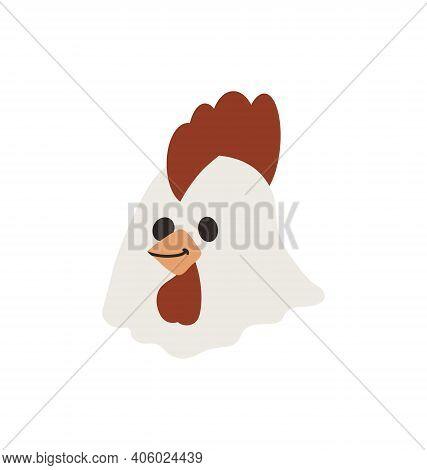 Cute Chicken Head - Smiling - Flat Cartoony Vector Isolated