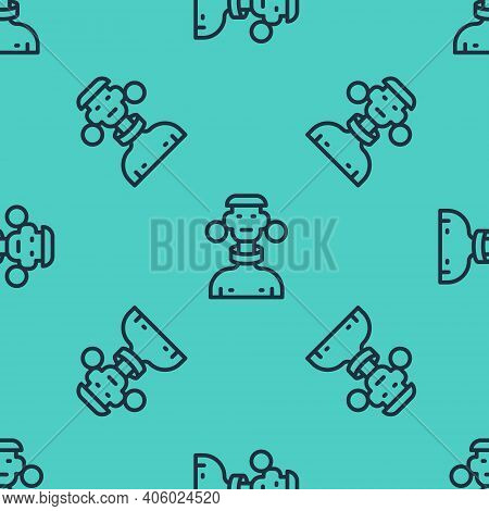 Black Line African Tribe Male Icon Isolated Seamless Pattern On Green Background. Vector