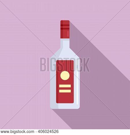 Drink Vodka Bottle Icon. Flat Illustration Of Drink Vodka Bottle Vector Icon For Web Design
