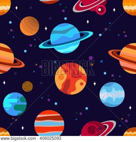 Planets Seamless Pattern With Stars.  Pluto, Mercury, Venus, Earth, Jupiter, Mars, Saturn, Neptune,