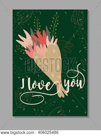 Vector Flat Card With A Bouquet Of Tulips On The Green Background. Tender Vector Illustration With A