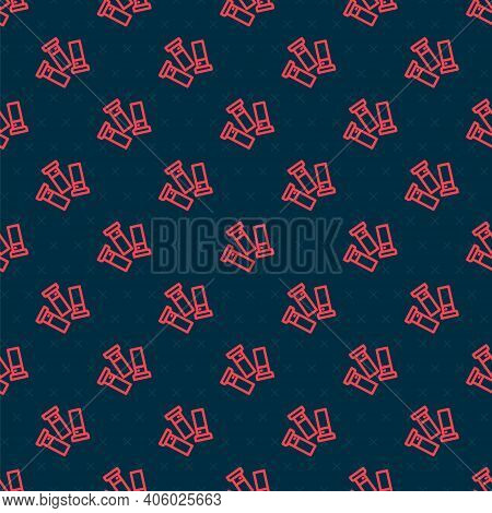 Red Line Cartridges Icon Isolated Seamless Pattern On Black Background. Shotgun Hunting Firearms Car