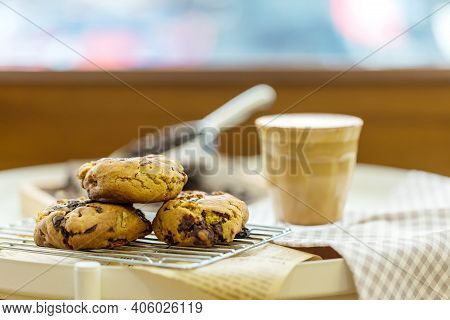 Oatmeal Cookies On Table. Chocolate Chip Cookies. Healthy Food And Drink And Natural Diet Food. Cook