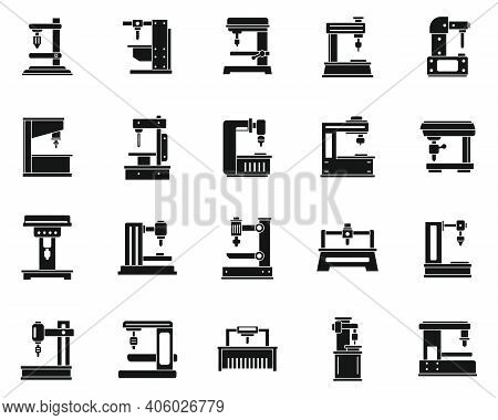 Milling Machine Tool Icons Set. Simple Set Of Milling Machine Tool Vector Icons For Web Design On Wh