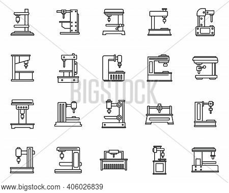 Milling Machine Device Icons Set. Outline Set Of Milling Machine Device Vector Icons For Web Design