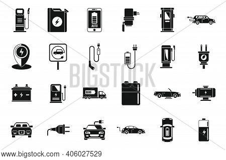 Eco Hybrid Car Icons Set. Simple Set Of Eco Hybrid Car Vector Icons For Web Design On White Backgrou