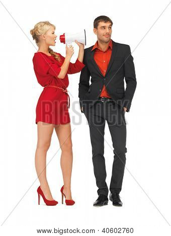 bright picture of beautiful couple with megaphone
