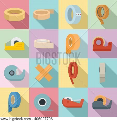 Scotch Tape Icons Set. Flat Set Of Scotch Tape Vector Icons For Web Design