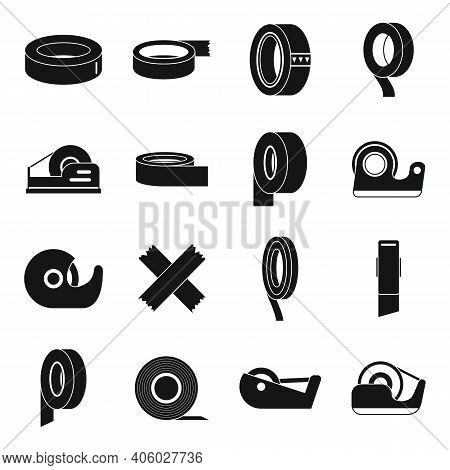 Scotch Tape Roll Icons Set. Simple Set Of Scotch Tape Roll Vector Icons For Web Design On White Back