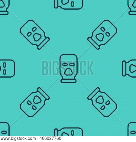 Black Line Balaclava Icon Isolated Seamless Pattern On Green Background. A Piece Of Clothing For Win