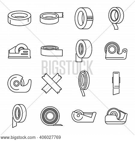 Scotch Tape Office Icons Set. Outline Set Of Scotch Tape Office Vector Icons For Web Design Isolated