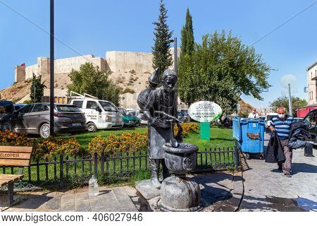 Gaziantep, Turkey - October 6, 2020: This Is The Modern Water Carrier Fountain In The Park Near The