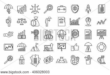 Crisis Manager Money Icons Set. Outline Set Of Crisis Manager Money Vector Icons For Web Design Isol