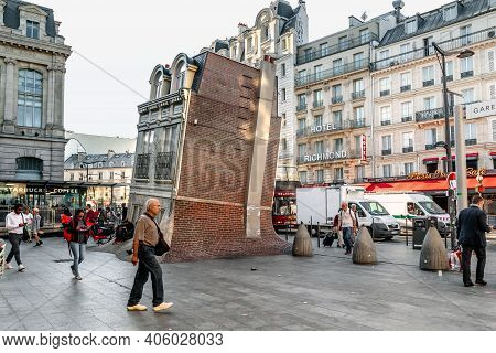 Paris, France - August 30, 2019: This Is Installation Maison Fond (artist Leandro Ehrlich), Located