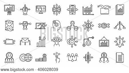 Restructuring Refer Icons Set. Outline Set Of Restructuring Refer Vector Icons For Web Design Isolat