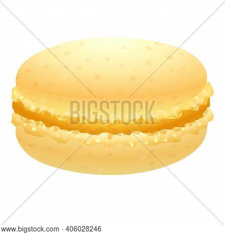Yellow Macaroon Icon. Cartoon Of Yellow Macaroon Vector Icon For Web Design Isolated On White Backgr