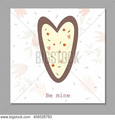 Delicate Card For Valentine's Day Be Mine. Gingerbread In The Shape Of A Heart. Sweet Declaration Of