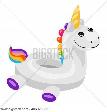 Unicorn Inflatable Ring Icon. Cartoon Of Unicorn Inflatable Ring Vector Icon For Web Design Isolated