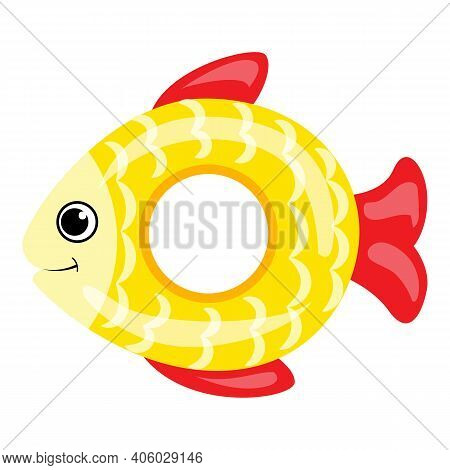 Gold Fish Inflatable Ring Icon. Cartoon Of Gold Fish Inflatable Ring Vector Icon For Web Design Isol