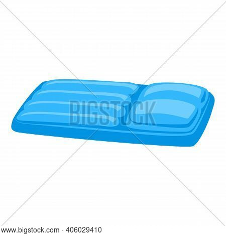 Blue Inflatable Mattress Icon. Cartoon Of Blue Inflatable Mattress Vector Icon For Web Design Isolat