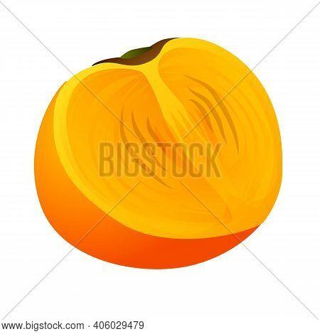 Half Persimmon Icon. Cartoon Of Half Persimmon Vector Icon For Web Design Isolated On White Backgrou