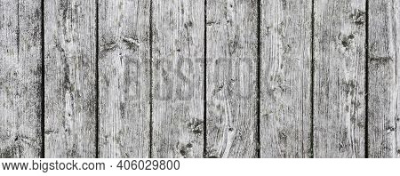 Panoramic Wood Texture. Wooden Desk Pattern. Wood Panoramic View. Rustic Tree Desk With Knots Patter