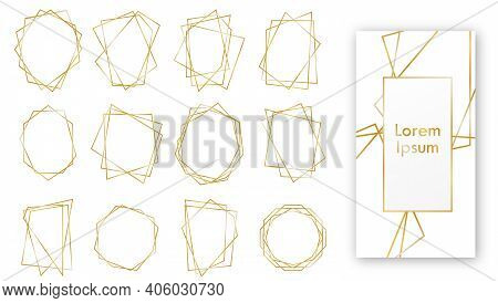 Golden Geometric Frames. Geometrical Polyhedron. Set Of Luxury Frames. Vector Border