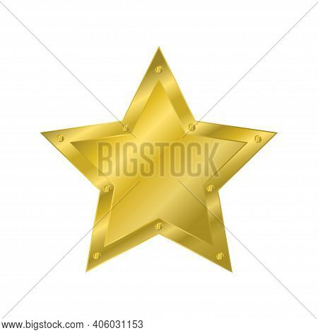 Gold Star With Rivets. Design Element. Vector Illustration On White Background