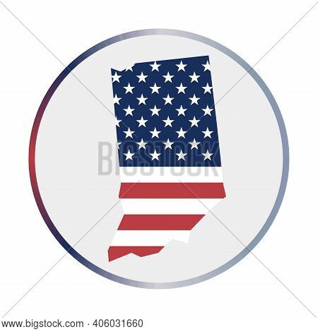 Indiana Icon. Shape Of The Us State With Indiana Flag. Round Sign With Flag Colors Gradient Ring. Ap