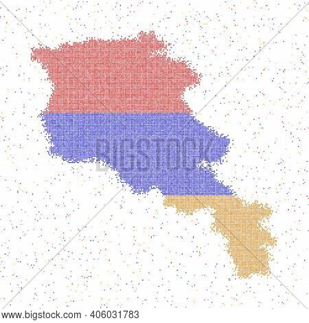 Map Of Armenia. Mosaic Style Map With Flag Of Armenia. Vector Illustration.