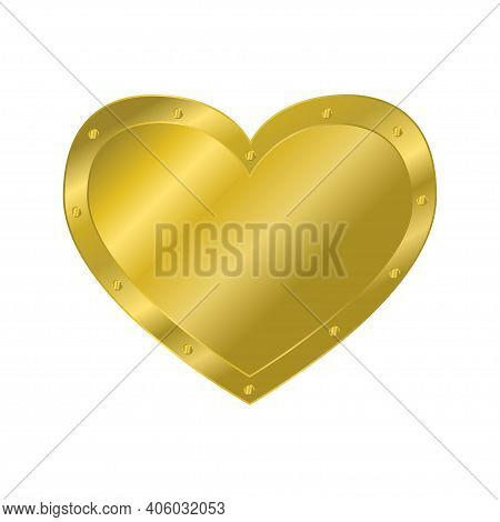 Heart Of Gold With Rivets. Design Element. Vector Illustration On White Background